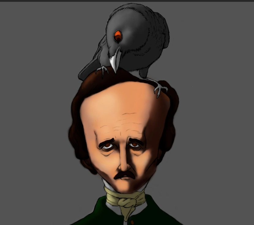 A Tale of Two Poes – Edgar Allan Poe and Raven Drawing